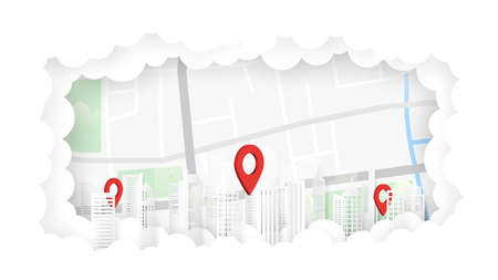 Delivery services and red pin navigation at the city on map location in cloud background.Paper art vector illustration. Archivio Fotografico - 150742053