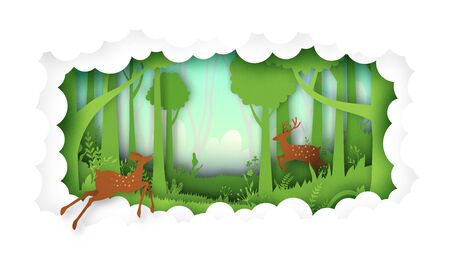Deer willdlife in green jungle tropical rain forest nature landscape and cloud paper art background.Vector illustration. Archivio Fotografico - 150469077