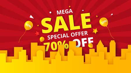 Special offer mega sale promotion banner template background.Concept of digital marketing vector illustration.