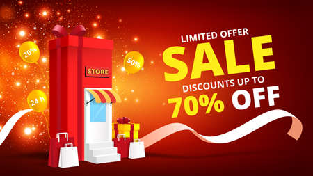 Online shopping concept with gift box store online.Digital marketing and sale banner background.Vector illustration.