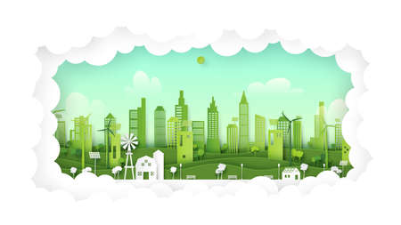 Green eco friendly city on natural background.Ecology and environment concept paper art style. Vettoriali