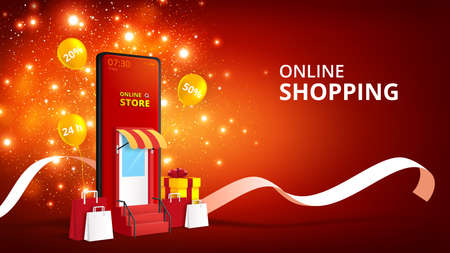 3d isometric Online shopping store with mobile application.Digital marketing and sale banner background.Vector illustration. Vettoriali