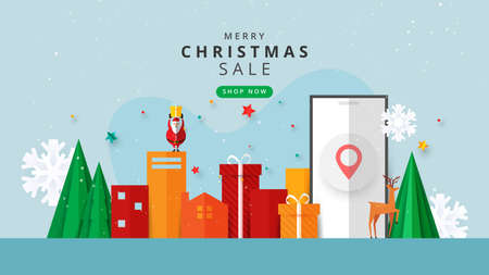 Merry christmas and happy new year.Winter online on website or mobile application sale banner template background paper cut style. Vettoriali