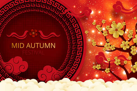 Mid Autumn Festival in paper art style.Chinese new year on red background with peony and clouds elements.
