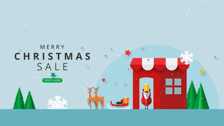 Merry christmas and happy new year.Winter online store or mobile application sale banner template background paper cut style.