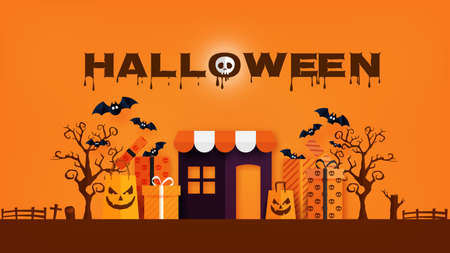 Happy Halloween banner or sale background paper cut style.Spooky online store with gift box and shopping bag.Vector illustration. Vettoriali