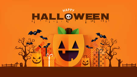 Happy Halloween banner or sale background paper cut style.Spooky pumpkin face with gift box and shopping bag.Vector illustration. Vettoriali