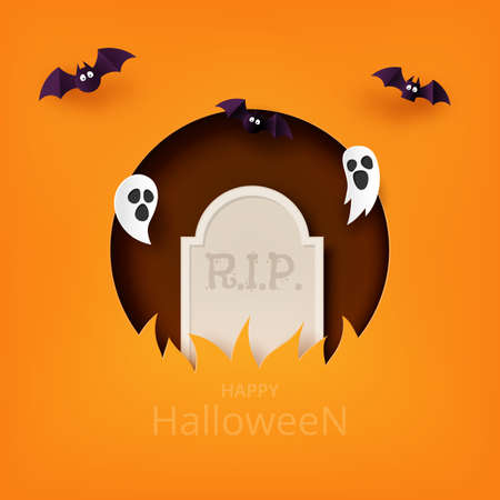 Happy Halloween banner background template paper art style.Tombstone with flying ghost and bats.Vector illustration.