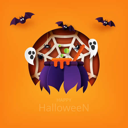 Happy Halloween banner background template paper art style.Witcher cauldron with flying bat,ghost and spider web.Vector illustration.
