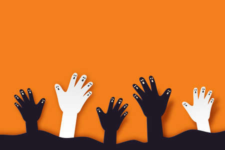 Halloween background paper art style.Zombie hand rising from graveyard.Vector illustration.