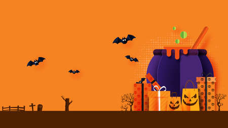 Happy Halloween banner or sale background paper cut style.Witcher cauldron with gift box and shopping bag.Vector illustration.