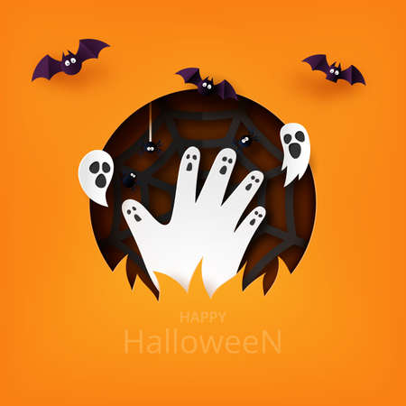 Happy Halloween banner background template paper art style.Zombie hand rising from graveyard with flying bat,ghost and spider web.Vector illustration. Vettoriali