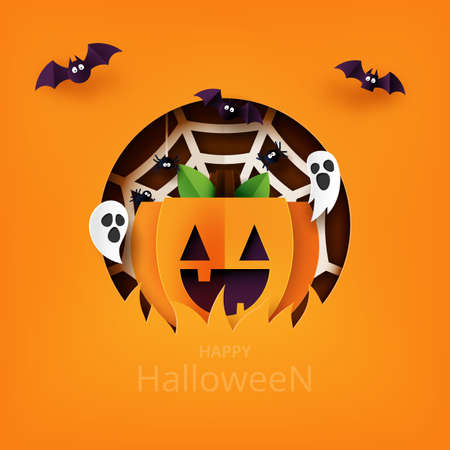 Happy Halloween banner background template paper art style.Paper pumpkin with flying bat,ghost and spider web.Vector illustration.