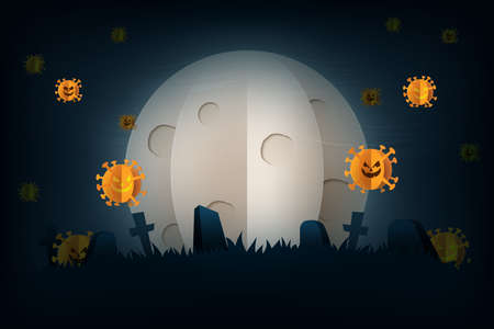 Halloween spooky night in COVID-19 prevention,Coronavirus background paper art style.Full moon and tombstone on graveyard.Vector illustration.