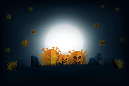 Halloween spooky night in COVID-19 prevention,Coronavirus background paper art style.Tombstone on graveyard.Vector illustration. Vettoriali