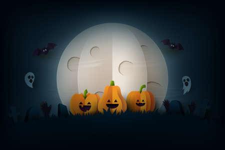 Halloween background in spooky night paper art style.Halloween pumpkins,flying bats and full moon in graveyard.Vector illustration.