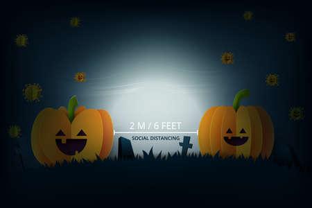 Halloween background in spooky night paper art style.Halloween pumpkins keep social distance.Vector illustration. Vettoriali