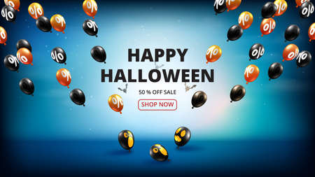 Happy Halloween sale banner background paper cut style.Spooky night with flying balloons. Vettoriali