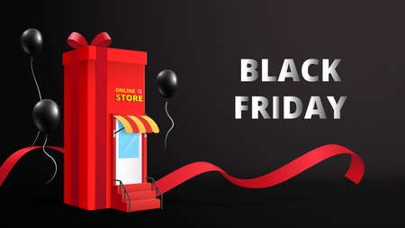 Black friday online shopping and Sale banner background template.Vector illustration.