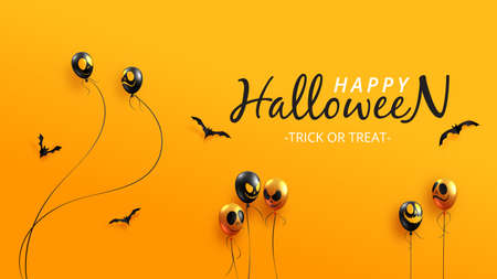 Happy halloween sale banner background template paper cut style.Halloween ghost balloons on orange background.