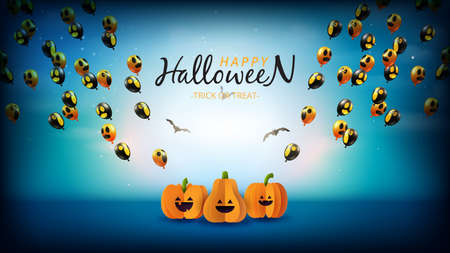 Happy halloween sale banner background template paper cut style.Spooky night with halloween pumpkins and flying ghost balloons. Vettoriali