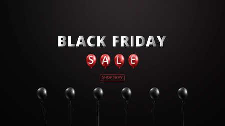 Black friday balloons sale banner background template.Vector illustration.