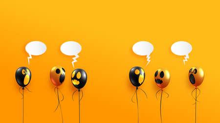 Halloween ghost balloons on orange background.Happy halloween sale banner background template vector illustration. Vettoriali