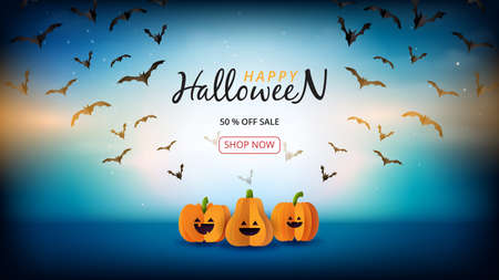 Happy halloween sale banner background template paper cut style.Spooky night with halloween pumpkins and flying bats on dark blue sky. Vettoriali