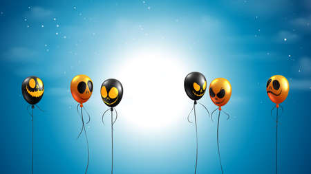 Spooky night with flying balloons on dark blue sky.Happy halloween sale banner background template vector illustration.