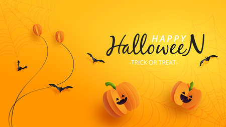 Happy halloween sale banner background template paper cut style.Halloween pumpkins and balloons on orange background.