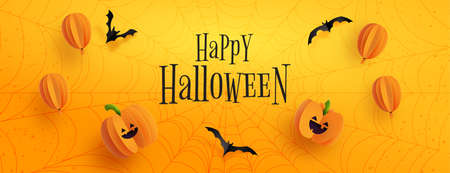Happy halloween sale banner background template.Halloween pumpkins,balloons and flying bats on orange background paper cut style.