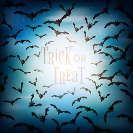 Halloween spooky night with flying bats background paper cut style.Trick or treat vector illustration.