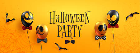 Happy halloween party and sale banner background template.Halloween ghost balloons and flying bats on orange background paper cut style. 矢量图像