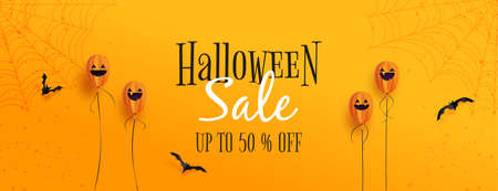 Happy halloween sale banner background template.Halloween ghost balloons and flying bats on orange background paper cut style. 矢量图像