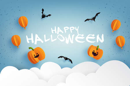 Happy halloween banner background template.Halloween pumpkins, balloons and flying bats on blue sky.Paper cut style vector illustration. 矢量图像