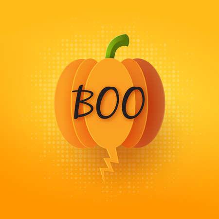 Halloween pumpkin bubble speech on orange background paper cut style.Vector illustration.