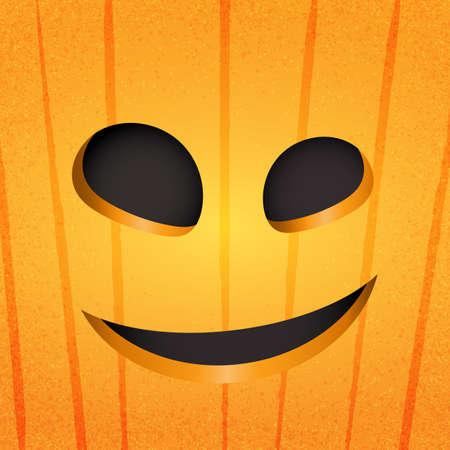 Happy halloween pumpkin face on orange background.Paper art style vector illustration.