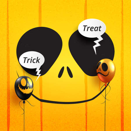 Halloween trick or treat text with halloween scary balloons and bubble speech talking on orange background.Vector illustration.