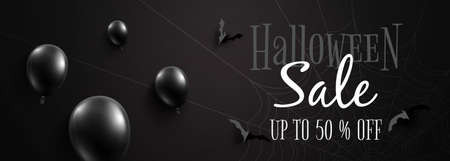 Happy halloween sale banner background template.Black halloween balloons and flying bats on black background paper cut style.