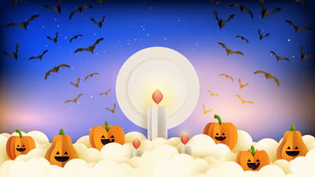 Happy halloween banner background template paper cut style.Spooky night with halloween pumpkins,candles and flying bats on blue sky.