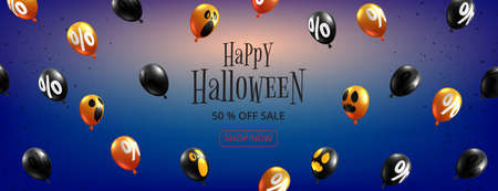 Happy Halloween sale banner background paper cut style.Halloween ghost balloons flying on blue background. 向量圖像