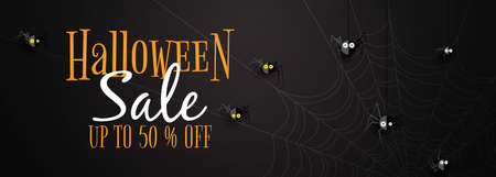 Happy halloween sale banner background template.Black halloween spiders on spider web background paper cut style.