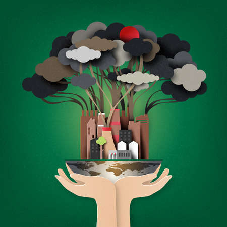 Hand holding the earth with Smoke and air pollution from city and factory industry building.Stop global warming concept.Paper art style.