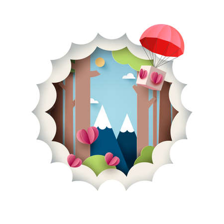 Paper art of Love concept.Green nature forest landscape with red parachute with origami paper hearts on blue sky background.Vector illustration. 向量圖像