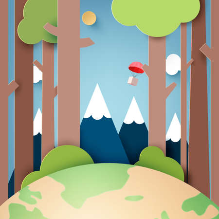 Paper art of Green nature forest landscape with red parachute on blue sky background.Vector illustration. 向量圖像