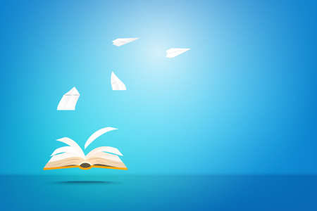 Open book and creative paper airplanes teamwork paper art style.Imagination for Education, idea and learning concept.Vector illustration. 向量圖像
