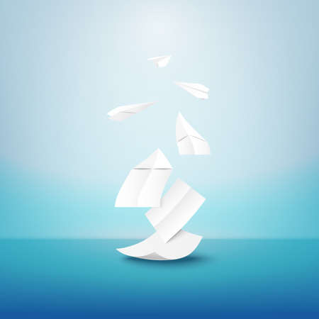 Creative paper artwork with white origami paper airplane.Paper art of Imagination for education, idea and business concept.Vector illustration. 向量圖像