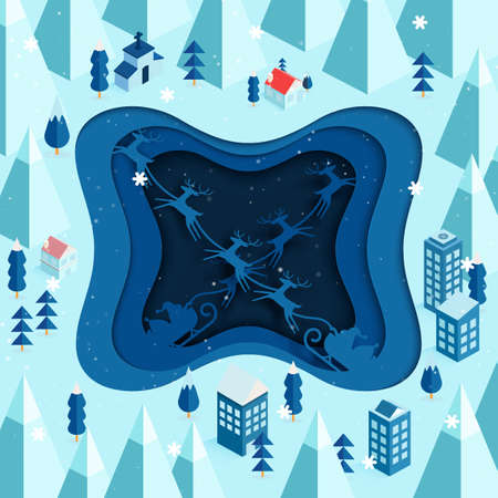 Paper art of Santa Claus riding on sleigh coming to town.Merry christmas and winter season landscape.Vector illustration. 向量圖像