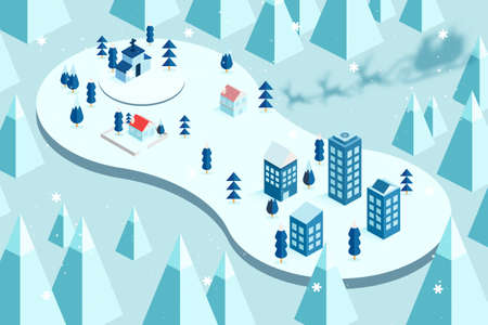 Shadow of Santa Claus riding on sleigh coming to town.Merry christmas and winter season landscape.Vector illustration. 向量圖像