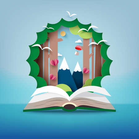 Open book of travel.Paper art of Nature and Imagination for idea concept.Vector illustration.